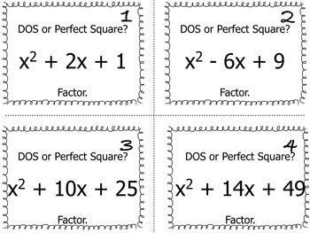 Task Cards: Difference of Squares & Perfect Square Trinomials