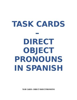 Task Cards - Direct Object Pronoun in Spanish