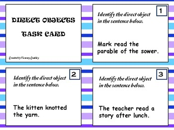 Task Cards Direct Objects ((FREE))