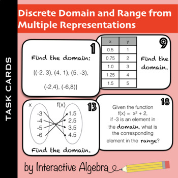 Task Cards: Discrete Domain and Range from Multiple Representations