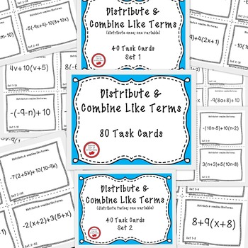 Distributive property and combine like terms with negatives task cards