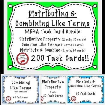 Combine Like Terms & Distributive Property with Negatives 200 Task Cards BUNDLE