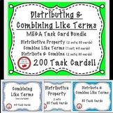 Distributive property and  combine like terms negatives 200 task cards BUNDLE