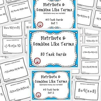 Distributive property and  combine like terms negatives 200 task cards BUNDLE