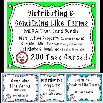 Distribute & Combine Like Terms With Negatives 200 Task Ca