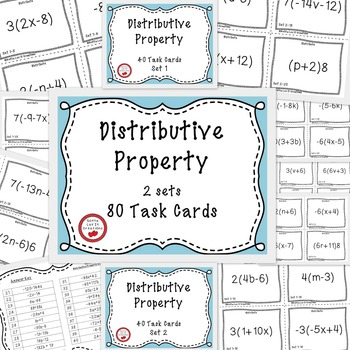 Distributive Property With Negatives 80 Task Cards Math Review for end of year