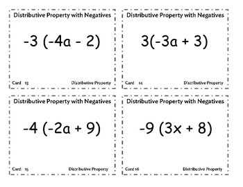 Task Cards Distributive Property with Negative Numbers
