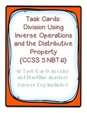 Task Cards: Divide Whole Numbers [Distributive Property & Multiplication]5.NBT.6