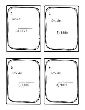 Task Cards: Divide Whole Numbers [with 1- and 2-digit divisors] 5.NBT.6