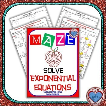 Maze - Exponential Functions-  Solving Exp Fxns using Common Base - Medium Level