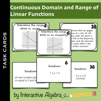 Task Cards: Domain and Range of Continuous Linear Functions