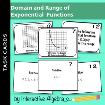 Task Cards: Domain and Range of Exponential Functions