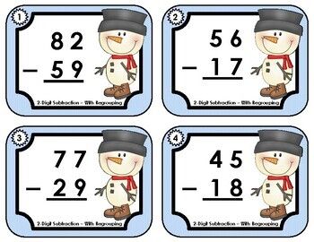 Task Cards •  Double-Digit Subtraction with Regrouping • Winter Snowmen