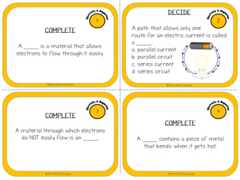 Electricity and Magnetism: Physical Science Task Cards