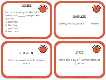 Energy, Work and Simple Machines: Physical Science Task Cards