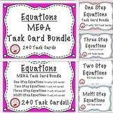 Equations Task Cards Bundle Solving One Step Two Step Multi-Step Equations