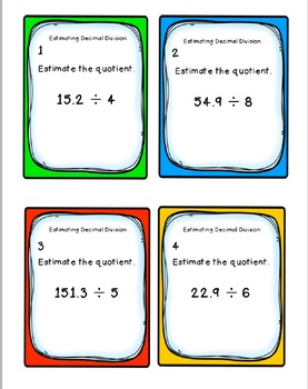 Task Cards: Estimating Decimal Division [Whole Number Divisors] 5.NBT.7