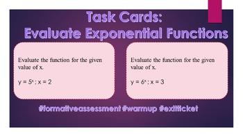 Task Cards: Evaluate Exponential Functions at a Specific Value