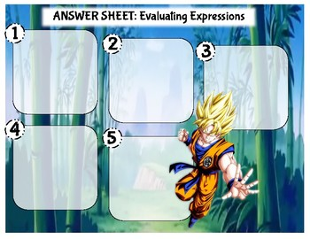 Task Cards: Evaluating Expressions