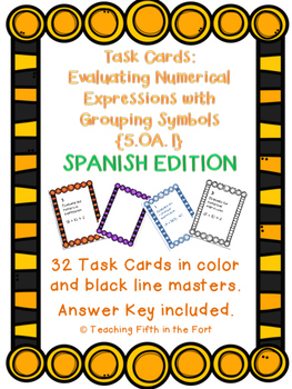 Task Cards: Evaluating Expressions [Grouping Symbols] 5.OA.1 SPANISH VERSION
