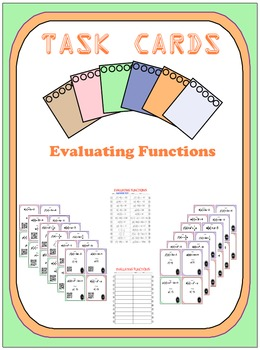 Task Cards - Evaluating Functions (With Optional QR)