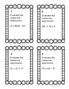 Task Cards: Evaluating Expressions [Grouping Symbols - No exponents] 5.OA.1