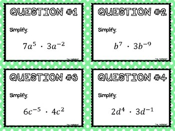 Task Cards:  Exponent Properties