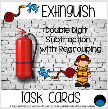 Task Cards Extinguish A Double Digit Subtraction with Regrouping Station