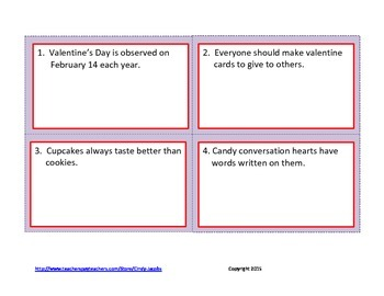 Task Cards, Fact or Opinion, Valentine, February Task Cards