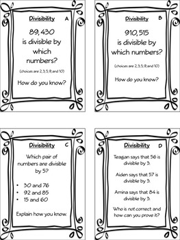 Task Cards: Factors, Multiples, Divisibility, and Prime and Composite