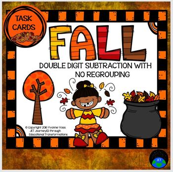 Task Cards Fall Double Digit Subtraction with no Regrouping