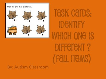 Task Cards- Fall Items (Which One is Different?) from Autism Classroom