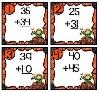 Task Cards Fall Leaves Double Digit Addition with No Regrouping