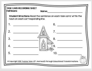 Task Cards Fall Nouns