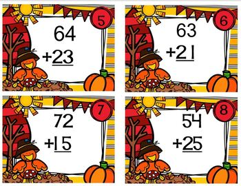 Task Cards Falling for Double Digit Addition with No Regrouping