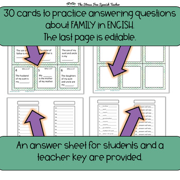 Task Cards: Family Vocabulary Practice, For English Language Learners ESL ELL