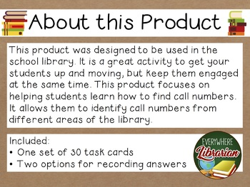 School Library Task Cards – 30 Card Set – Find the Call Number - LOW PREP