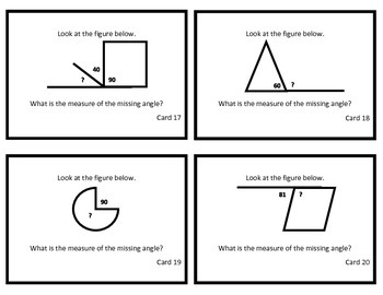 Task Cards: Finding Unknown Angles