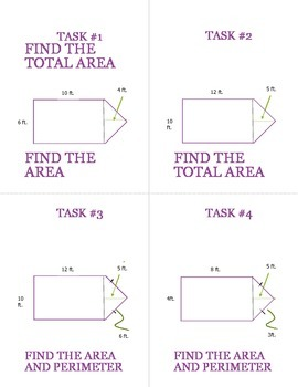 Task Cards For Area and Perimeter or Triangles and Figures