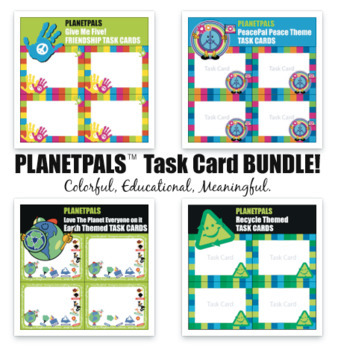 Earthday Earth, Peace LessonsLearn to Care Task Cards Bundle World People Themes