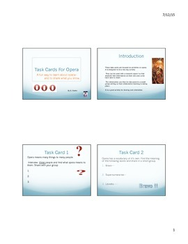 Task Cards For Opera
