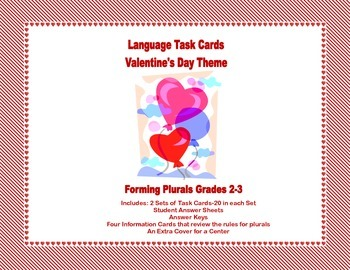 Task Cards Forming Plural Nouns Grades 2-3 Valentine's Day Theme