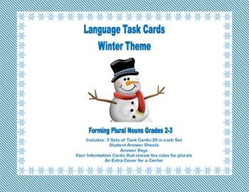 Task Cards Forming Plural Nouns Grades 2-3 WinterTheme
