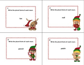 Task Cards Forming Plural Nouns Grades 2-3 Christmas Theme