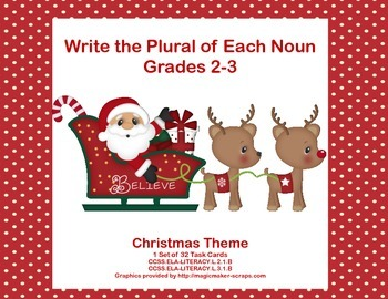 forming plural nouns grades 2 3 christmas theme task cards - Plural Of Christmas