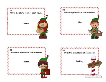 Forming Plural Nouns Grades 2-3 Christmas Theme-Task Cards
