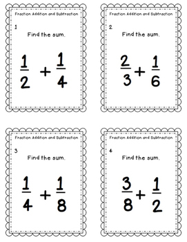 Task Cards: Fraction Addition and Subtraction NF.5.1