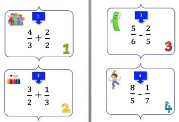 Fractions Task Card REVIEW GAME - Grades 4-6 {Common Core Standard - 5.NF}