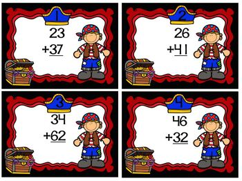 Task Cards Freebie National Talk Like a Pirate Day Double Digit Addition