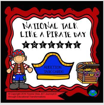 Task Cards Freebie National Talk Like a Pirate Day Double